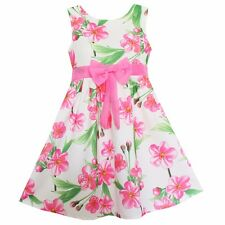 New Girls Pink Peach Blossom Flower Dresses Bow Party Princess Children Clothes