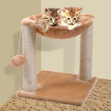 Beige Cat Tree Condo Hammock Scratch Post House Bed Furniture Play with Toy