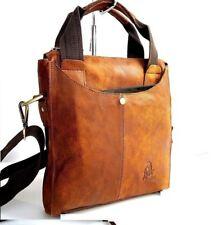 Genuine  Leather Shoulder Bag Messenger men luxury vintage style brown tablet