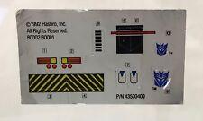 Devastator Hook Decal Sheet 1993 Vintage G2 Transformers Hasbro