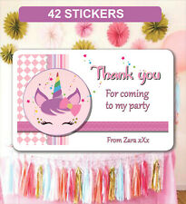 42 Birthday Party Bag Stickers Sweet cone Labels Unicorn Personalised