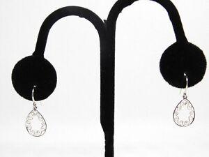 SU 925 TH Sterling Silver Fine Filigree Dangling Teardrop Earrings