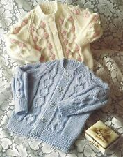 BABY CREW NECK CARDIGAN FOR BOY OR GIRL KNITTING PATTERN 18 to 24 INCH (1166)