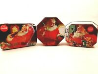 Three Coca-Cola Collectible Christmas Tins Santa Claus w/ Coke Metal Containers