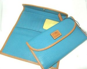 Dooney & Bourke Turquoise Pebbled Leather Continental Clutch Wallet New NWT $128
