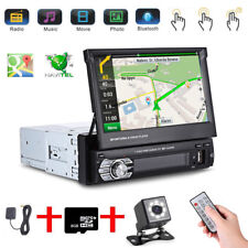 "Single 1 Din 7"" HD GPS Flip Bluetooth Car Stereo Radio MP5 Player Touch + Camera"