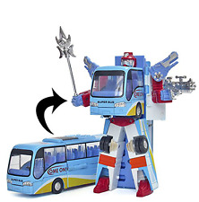Toy Bus Transforms Into Giant Fighter Robot, Kids Transformer Car Action Figure