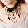Black Lace Flower Chain Tassel Choker Collar Women Necklace Gothic Punk Jewelry