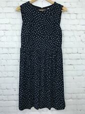 Ann Taylor LOFT Womens Small Dress Polka Dot Blue Sleeveless Shift Stretch ALine