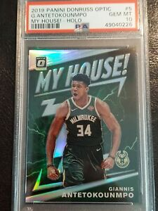 2019-20 DONRUSS OPTIC MY HOUSE SILVER HOLO GIANNIS ANTETOKOUNMPO BUCKS PSA 10 🔥