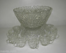 Anchor Hocking ARLINGTON Clear 15 piece Punch SET Bowl Stand Cup Ladle