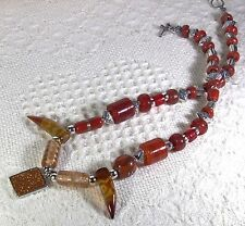 """Red and Copper glass beads w Goldstone gemstone pendant 20"""" necklace - nwot"""