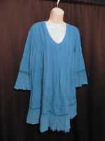Gretty Zueger Tunic Top Asymmetrical Blue Embroidered Artsy Size L Large Cotton