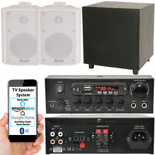 TV Premium Sonido Sistema – Blanco Pared Altavoces 200W Graves & Bluetooth A Kit