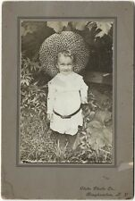 1900s Young Boy in Big Straw Hat - Binghampton New York Vintage Cabinet Card