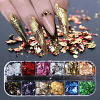 Nail Art 3D 12 Grids Holographic Glitter Sequin Mix Dots Gel Acrylic Nail