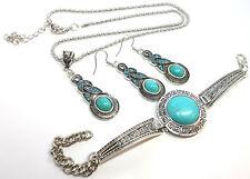 Set Turquoise Charm Tibetan Silver Fashion Necklace Bracelet Earrings Gift