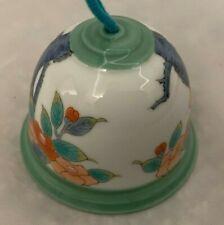 """Green Floral 2 1/4"""" Porcelain Bell Figurine"""