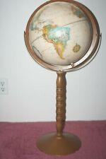 "Raised Relief 12"" Replogle Series World Classic Globe Wood Floor Metal Stand"