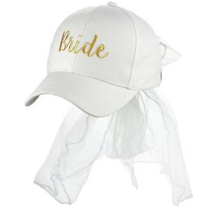 C.C Women's Bridal Metallic Gold Embroidered Adjustable Lace Veil Baseball Cap