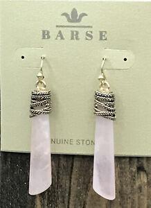 Barse Wrapture Earrings- Rose Quartz & Bronze- NWT