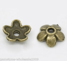 400PCS Wholesale Lots Bronze Tone Flower Bead Caps Findings 6.5x6.5mm GW