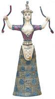 Antiguo Cretan Minoan Serpiente Diosa (Poliresina Estatua 20x8cm/20x8cm)