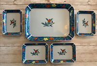 Vintage 5 Pc Sushi Serving Set From Japan. 4 Dinner Plates And 1 Serving Tray