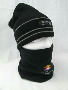Salt Lake 2002 Winter Olympic Merchandise Beanie Cap Hat and Neck Warmer Fleece
