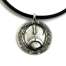 Phil 4:13 Football Necklace (sp7rhd) Rhodium Metal Finish NWT