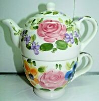 Mariams Garden by Tabletops Unlimited Individual Teapot and Cup Three-Piece RARE