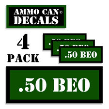 """.50 BEO Ammo Can 4x Labels Ammunition Case 3""""x1.15"""" stickers decals 4 pack GR"""