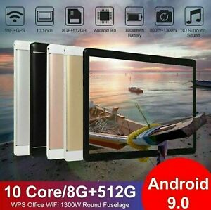 """10.1"""" WiFi Tablet Android 9.0 HD 8G+512G 10 Core GPS+ Dual Camera 2021"""