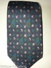 CRAVATTA VINTAGE YVES SAINT LAURENT 100% SETA BLU MEN SILK TIE MADE IN ITALY
