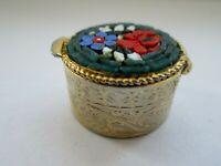 Vintage Italian Micro Glass Mosaic Flower Hinged Gold Tone Pill Trinket Box