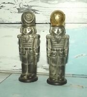 GODINGER SALT & PEPPER SHAKERS SOLDIERS SILVER PLATED WORN CONDITION $10 SHIPPED