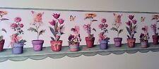 Fairies & Flowers in Pots Colorful DIECUT Wallpaper Border