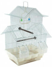 Two Story Bird Cage White House Style Starter Kit Swing Perch Feeders -