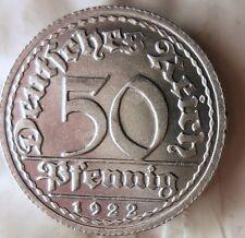 1922 G WEIMAR GERMANY 50 PFENNIG - AU/UNC - FREE SHIPPING - BARGAIN BIN #AAA