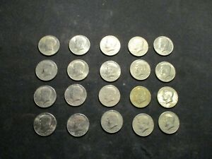 JOHN F KENNEDY HALF DOLLAR BICENTENNIAL 1 roll, 20 Coins 1776-1976 Circulated