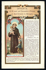 antico santino cromo-holy card  S.ANTONIO DA PADOVA in BOLOGNA