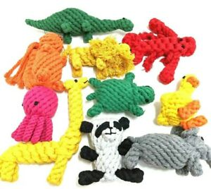 Dog Pet Puppy Chew Animal Toy For Teething & Fun Play Tough Crochet Cotton Rope