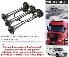 TROMBE ad ARIA COMPRESSA ELETTRONICHE 12V a 3 SUONI ALTERNATI CAMION BARCA P2/3E