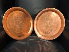 Pair (2) Antique Vintage Copper Advertising Serving Trays Johnnie Walker Scotch