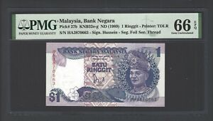 Malaysia One Ringgit ND(1989) P27b Uncirculated Graded 66