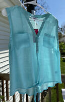 Candie's Top Blouse V-Neck Button Up With Tie Lace Back Sheer  Blue Sz L NEW
