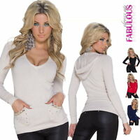 New Ladies Jumper Sweater Top Hooded Knitwear SIZE 10 8 6 /US Size 2 4 6 XS S M