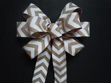 Chevron Linen Burlap Wedding Pew Bow Bridal Shower Decor Wreath Crafts Gifts bow