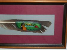 STUNNING COSTA RICA HAND PAINTED ART TOUCAN BIRD FEATHER PICTURE FRAMED SIGNED