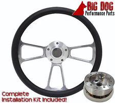 "Billet Steering Wheel 1970 to 1987 Mopar Dodge Plymouth 14"" Half Wrap Black Kit"